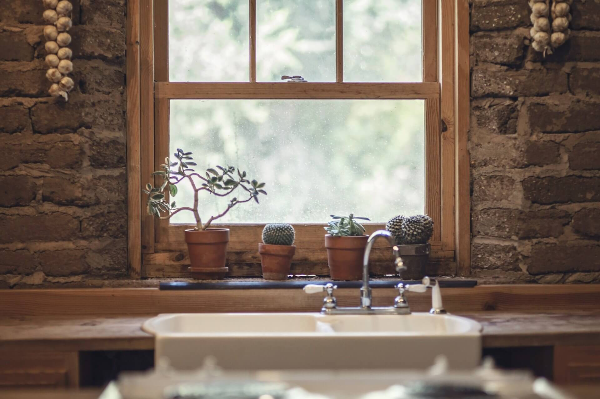 new wood window replacement in home kitchen
